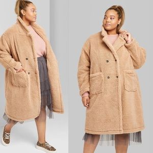 Jackets & Blazers - Plus Size Front Button Sherpa Coat
